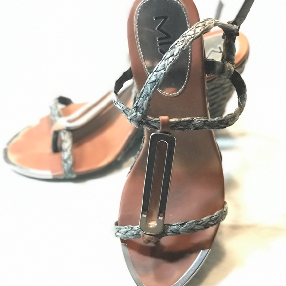 MIA,  Pewter and Silver Wedge Sandals, Size 10